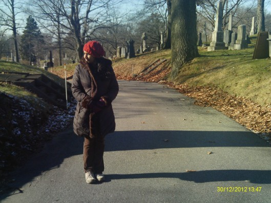 It was cold and windy, just the right feel for a December walk in a cemetery.