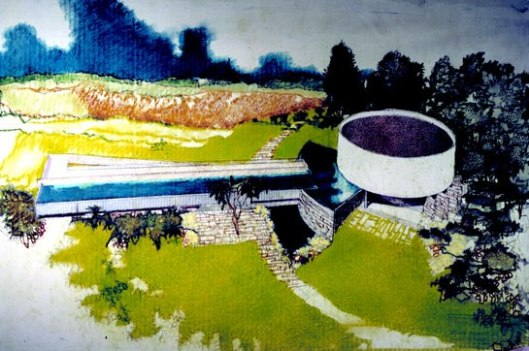 1958 Richard Neutra sketch of Gettysburg cyclorama building