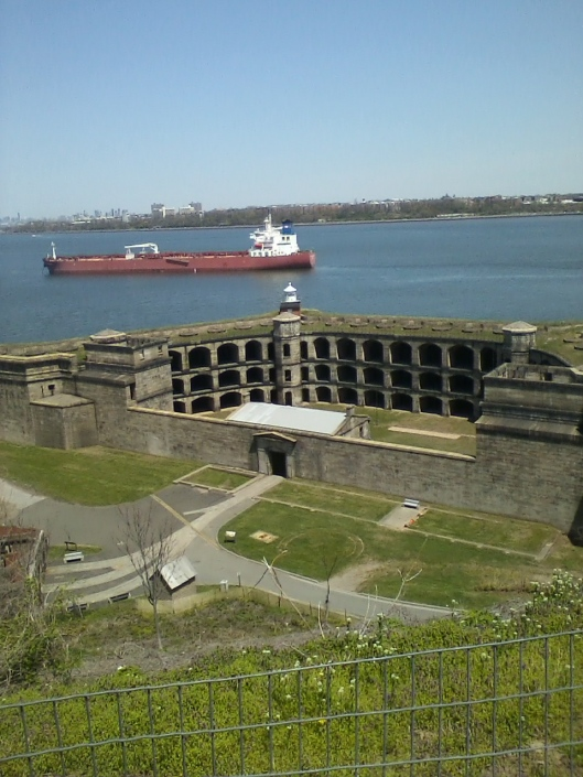 Battery Weed and ship in New York Harbor