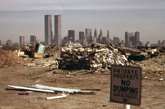 Twin Towers seen from New Jersey Turnpike, 1973