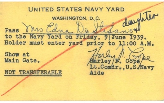 My grandmother's Navy Yard pass