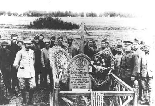 The grave of Quentin Roosevelt, France. Lieutenant Roosevelt later received the Croix de Guerre.