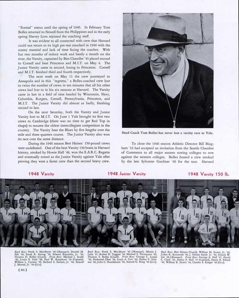 William M. Evarts Jr. and Julian K. Roosevelt, Harvard crew team, 1948 Varsity 150 pounds