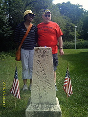 Charles and the Hayfoot at the Gettysburg First Shot marker