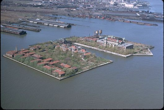 Ellis Island with Jersey City in the background