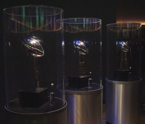 The first three of the Green Bay Back Super Bowl trophies. The team would add a fourth the year after this photo was taken.