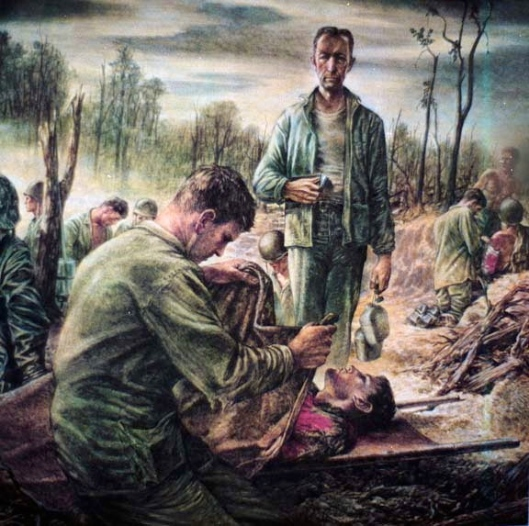An Army chaplain performs the last rites, Bliliou (Peleliu) Island,, 1944