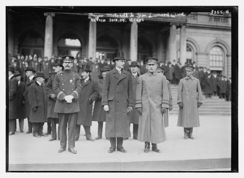 General Leonard Wood and New York City mayor John Purroy Mitchel inspecting troops in 1915