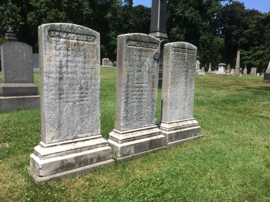 These now faded markers are the headstones of Anna Bulloch, James Gracie, and Martha (Grandmamma) Bulloch. Martha died in 1864 when the Civil War was still going on.