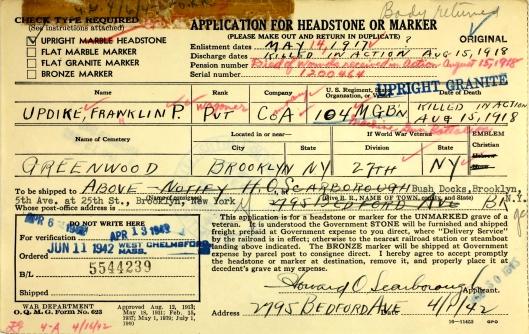 Updike grave marker copy