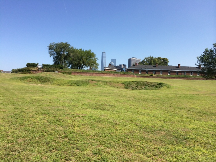 Another bunker: that is Fort Jay directly behind and the new World Trade Center off in the distance