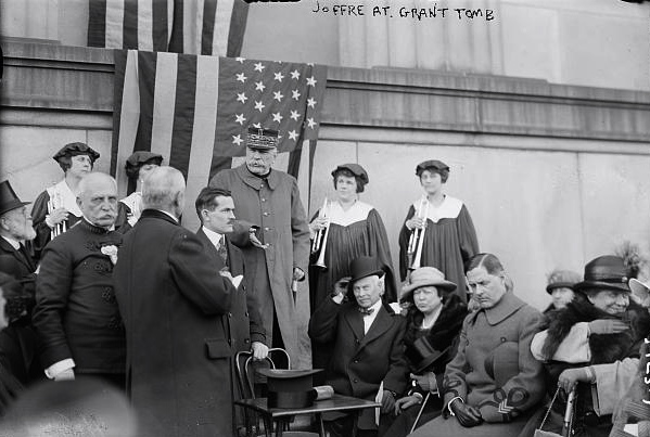10 May 1917: Tens of thousands of New Yorkers, including Leonard Wood, turned out to see Marshal Joffre place a wreath on Ulysses S. Grant's sarcophagus