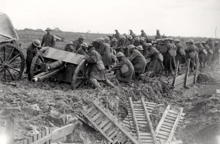 British Tommies toil in the mud at Third Ypres, October 1917