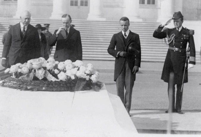 Ted Roosevelt (second from right) with President Coolidge (second from left) and Secretary of War John Weeks, 11 November 1923