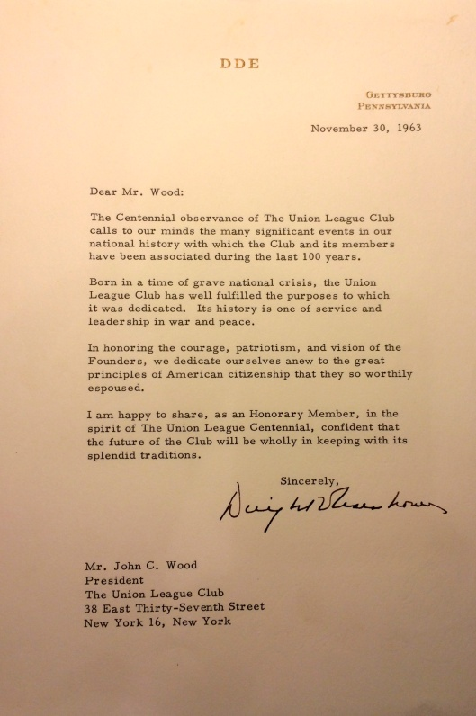 Dwight D. Eisenhower wrote this letter just after the 100th anniversary of the Gettysburg Address and Kennedy assassination