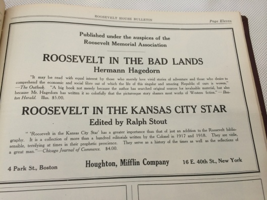 an advert that appeared in an early edition of the Roosevelt House Bulletin