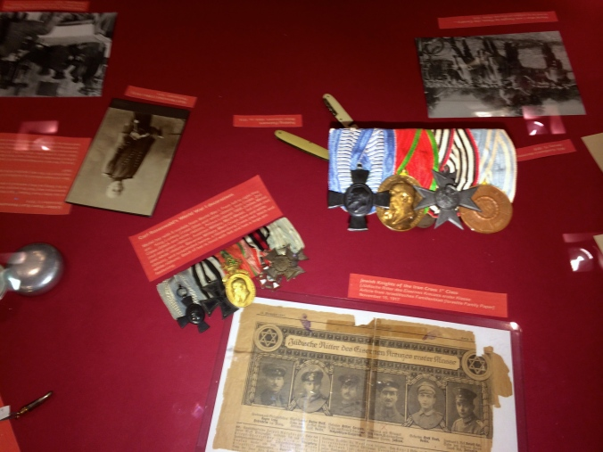 The Great War medals of Carl Rosenwald (left, in display case) and Ernst Backarach (right, on top of case)