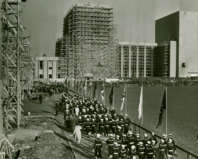 A parade was part of the dedication of the New York Fair's Court of Peace, 11 November 1938