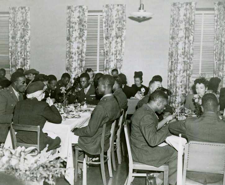 Thanksgiving 1944: Eleanor Roosevelt (unseen) was on hand to meet wounded soldiers at Washington D.C.'s  Lucy D. Slowe Hall, 26 November