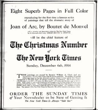 The Times understood the significance of the Monvel prints and advertised them heavily in the weeks prior to their release.