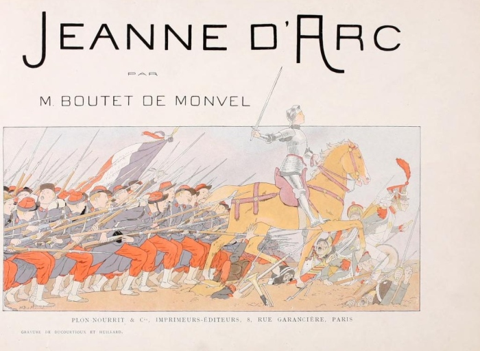 Monvel published the children book in 1895. The 15th century French soldiers depicted here look suspiciously like the zouave units of Monvel's time. French soldiers first started wearing these in the mid nineteenth century and continued through the first months of the Great War.