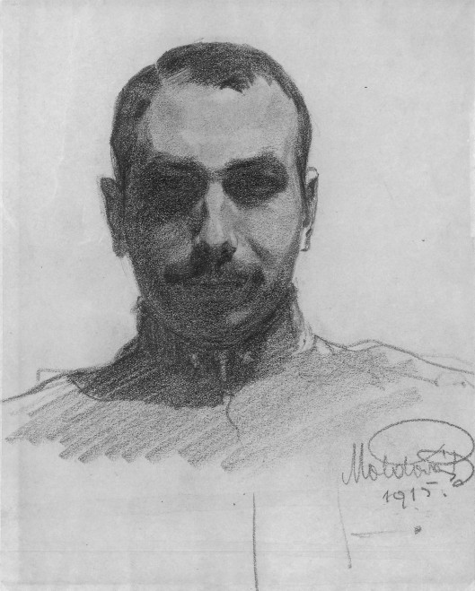 Béla Zombory-Moldován, self-portrait, 1915, graphite pencil. The collar insignia denotes the rank of second lieutenant of the Austro-Hungarian infantry.