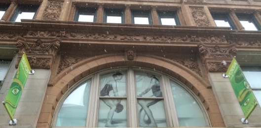 A detail on 841 Broadway:. Look closely above the arch. On the left is an R and on the right a B, which stand for Roosevelt Building.