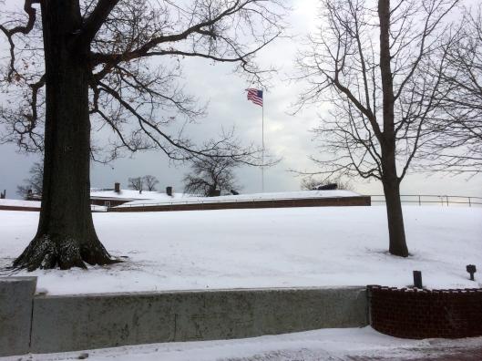 Fort Jay, flying the 48 star flag