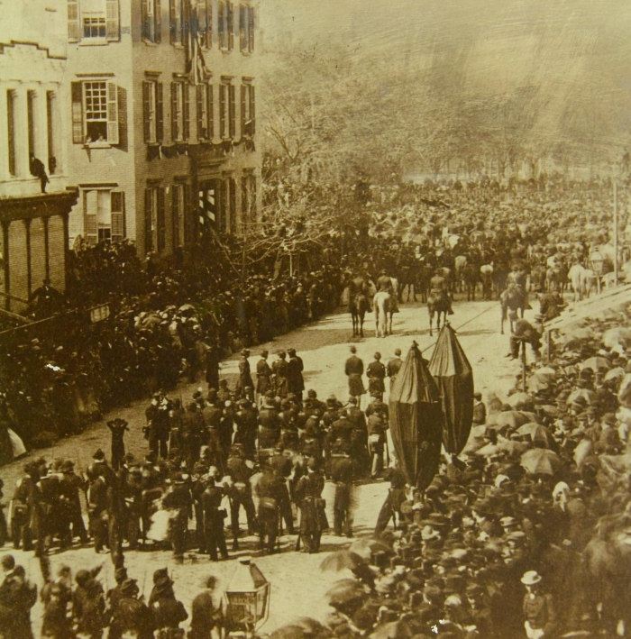 Lincoln's funeral procession passing Cornelius Roosevelt's house, 25 April 1865