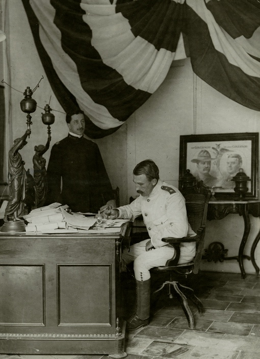 General Wood in his dress white, Cuba 1905. Wood was a longtime friend of the Roosevelt family.