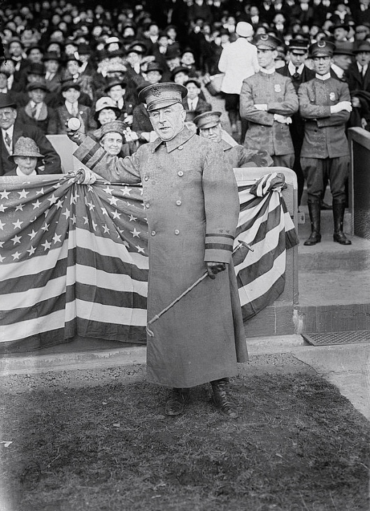 Major General Leonard Wood had just been relieved of command when he tossed out the Yankees first pitch on April 11, 1917.