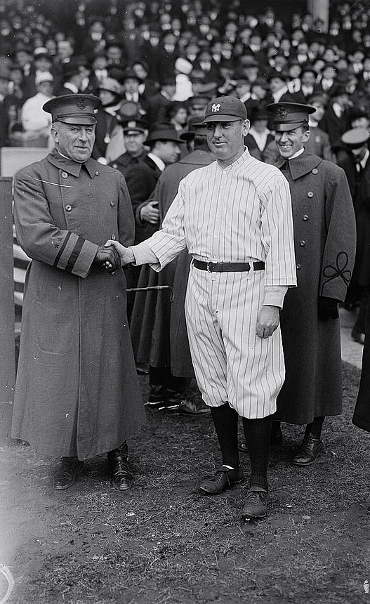 "Wood poses with Yankee skipper ""Wild Bill"" Donovan. The Yankees were not yet THE YANKEES. A few years later they would acquire Ruth and move to the Bronx into the stadium he would help make possible."