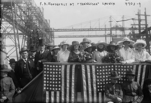 Franklin Delano Roosevelt (left, top hat) at the launching of the Tennessee, 30 April 1919