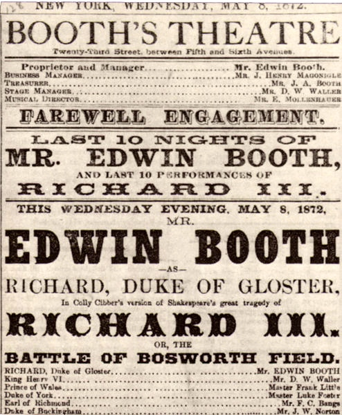 Edwin Booth was part of the fabric on New York City social and cultural life for decades. The extent to which this is true is often lost on us today.