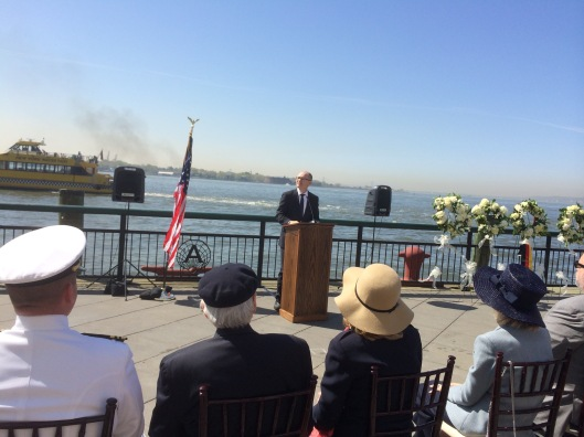 Consul Mr. Bernd Reindl speaks at the ceremony in New York remembering the Lusitania, 7 May 2015