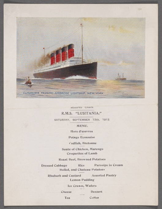 a 1913 menu from the luxury liner, one year prior to the outbreak of the war