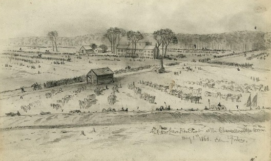 Major General Joseph Hooker's headquarters at the Chancellorsville house, where Washington A. Roebling served during that battle