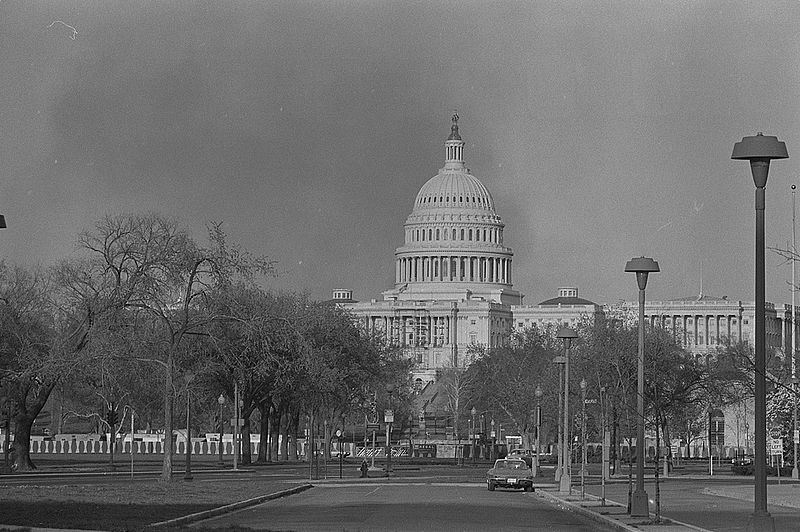 Smoke rises visibly above the U.S. Capitol on 8 April in the wake of the assassination of Martin Luther King Jr.