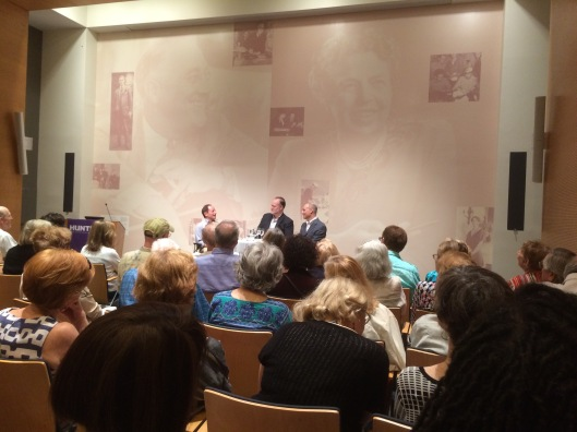 Authors Timothy Dwyer (center) and Mark Peyesrer discuss their new book about the relationship between Alice Roosevelt Longworth and Eleanor Roosevelt, 28 July 2015