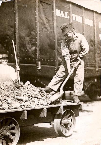 Women working on the railroad in the Allied war effort in Bernard Baruch's War Industries Board, Glenwood, Pennsylvania, circa 1918