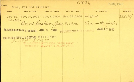 One sees the two calls to national service. New York Governor John A. Dix appointed Cook a brevet captain in 1912. Five years later a Governors Island medical board recommended his honorable discharge on medical grounds.