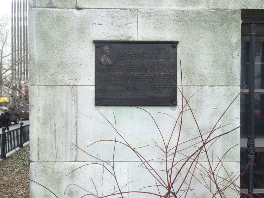 Brenner's plaque on the northern face of Brooklyn's Borough Hall