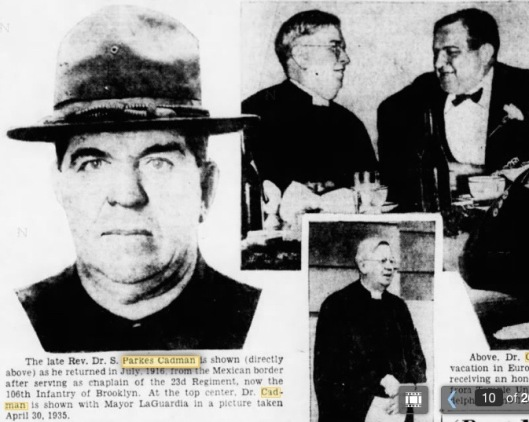 Three images of the Reverend S. Parkes Cadman from his Brooklyn Daily Eagle obituary