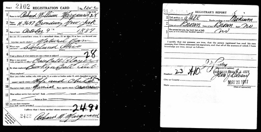 His draft registration card. It is interesting to note that he lived in Upper Manhattan, which is not surprising given that he played for the Giants before the Robins.