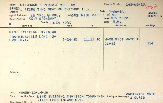 Brooklyn was in Chicago playing the Cubs when he enlisted in the Navy. He pitched later that day. Note that he entered the Navy three weeks after the season began. A Note: All sites I have seen list his birth year as 1886. However, all of his official paper work--military papers, census records--say 1889.