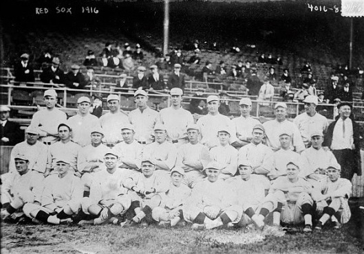 The United States was not yet involved in the Great War when the Boston Red Sox won the World Series in 1916. Still, Canadians were playing the game overseas in military leagues. Note Babe Ruth sitting fourth from the left.