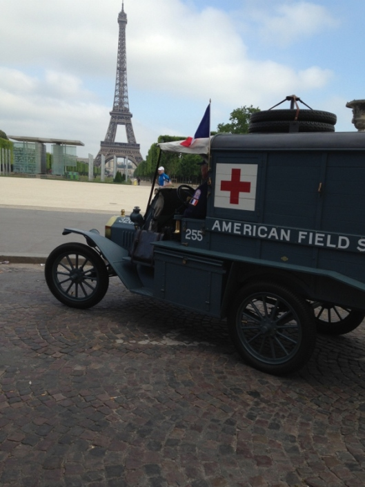 George King III and his restored Ambulance 255, Paris
