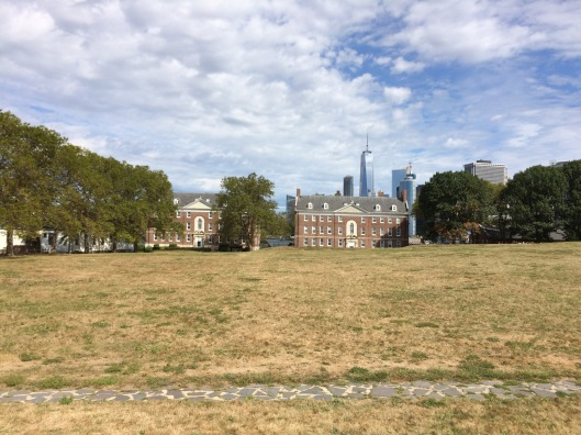 From these apartment building on the northern tip of Governors Island Coast Guard residents watched the Twin Towers rise nearly five decades ago.