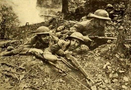 Production still from The Lost Battalion originally appearing in the Hollywood trade publication Moving Picture World June 28, 1919