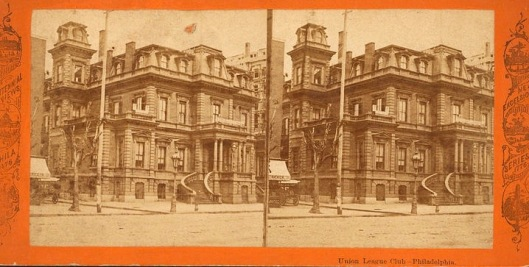 Stereograph showing the vandalized stairs